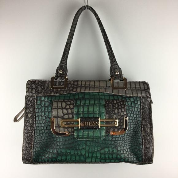 GUESS Green Gray Alligator Texture Handbag